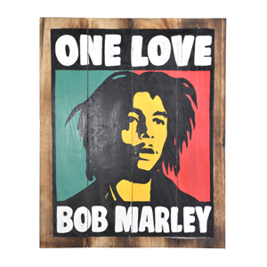Handpainted Wooden Bob Marley - One Love - Wall Plaque Hanging