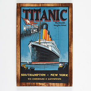 Handpainted Wooden Titanic - wall plaque hanging