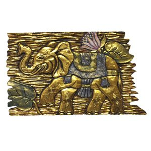 Lucky Golden Elephant Wall Plaque Wooden Hanging