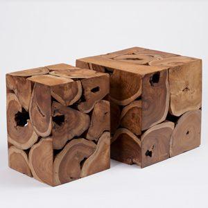 Set of 2 Modern Stylish Teak Cube Stools 30x30&40x40