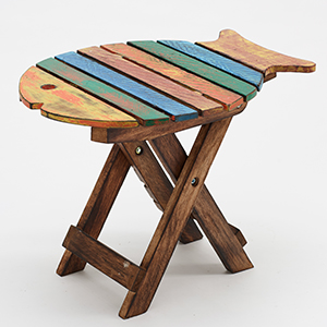 Folding Rustic Fish Chair Stool Side Table