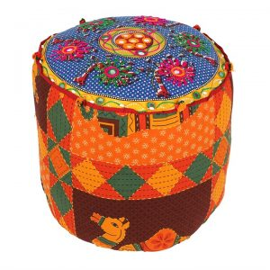 Indian Fabric Colourful Foot Stool Pouffe