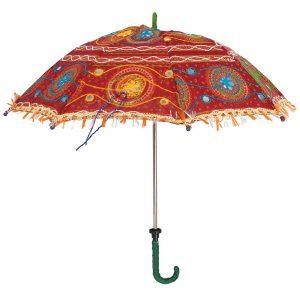 Indian Fabric Mini Parasol Sun Umbrella