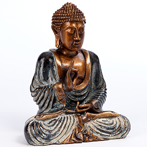 Resin sitting meditating buddha. 25 cm tall. Blue
